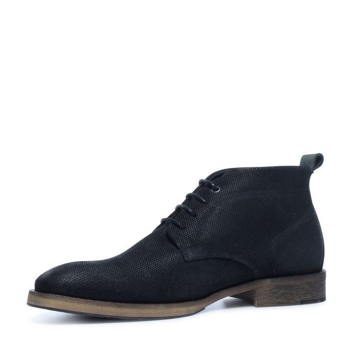 Chaussures à lacets en daim avec motif - noir