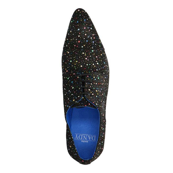 Chaussures à lacets en daim avec petits points colorés - noir