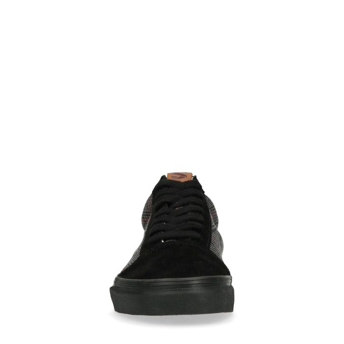 Baskets en daim basses avec imprimé carreaux - noir