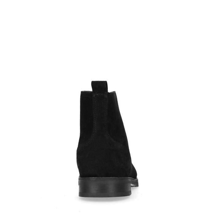 Boots à lacets en daim avec imitation laine - noir