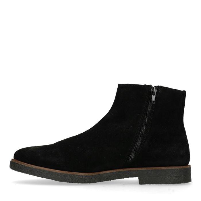Boots en daim basses avec fermeture éclair - noir