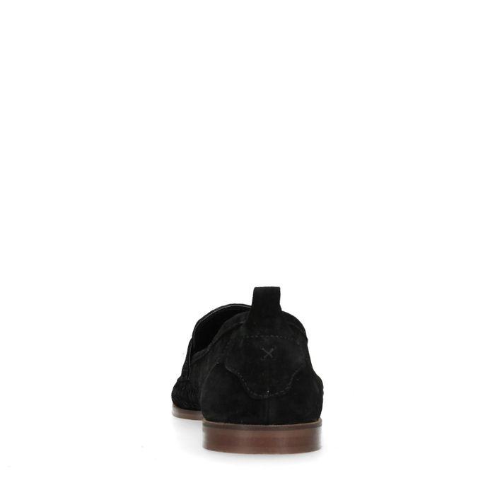 Slip-on tressées en daim - noir