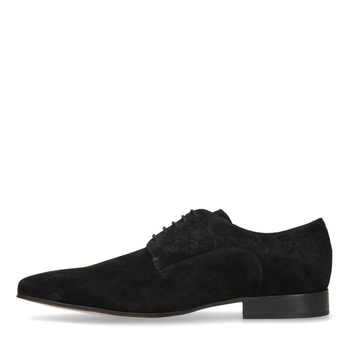 Chaussures à lacets en daim avec petit motif - noir