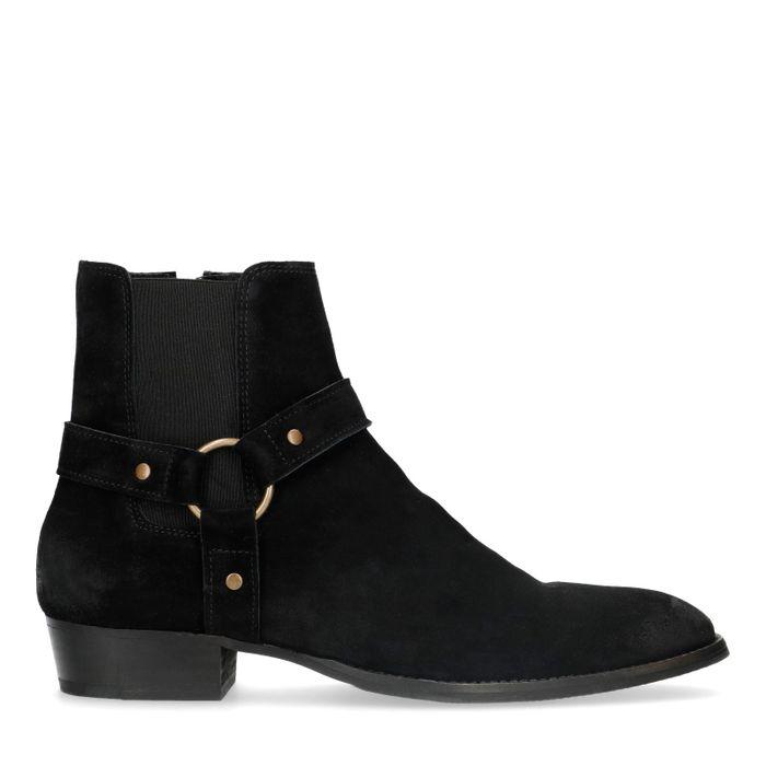 Chelsea boots en daim avec boucle - noir