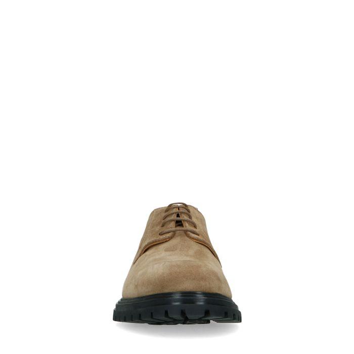 Chaussures à lacets en daim avec semelle noire - taupe