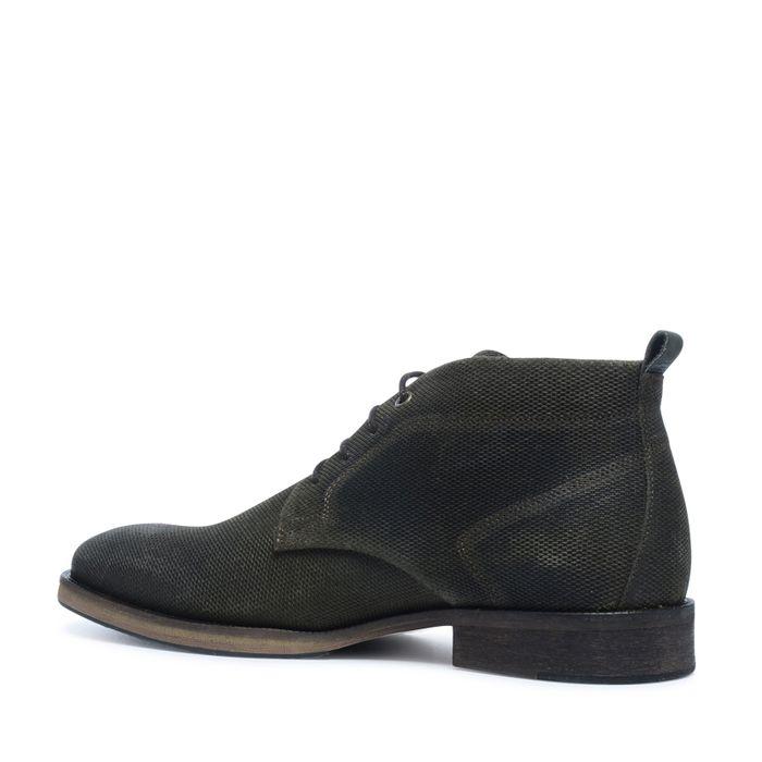Boots à lacets en daim avec motif - vert