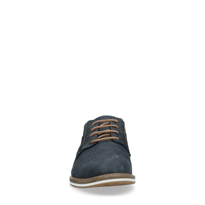 Chaussures à lacets en nubuck avec motif - bleu