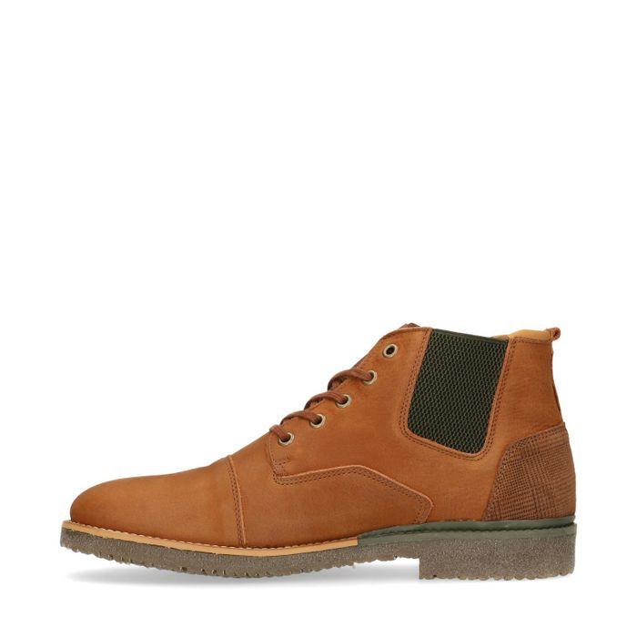 Boots à lacets en nubuck - marron