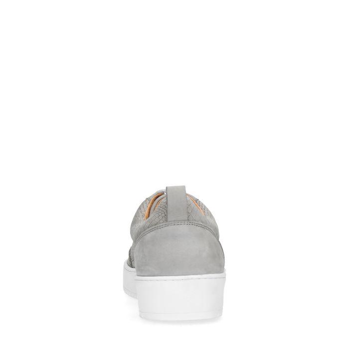 Baskets en daim avec imprimé croco - gris