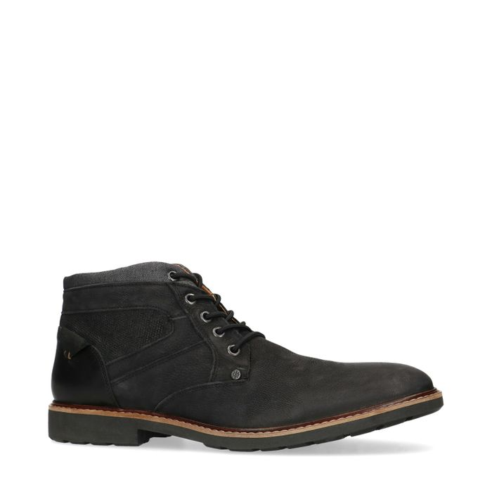 Boots à lacets en nubuck - noir