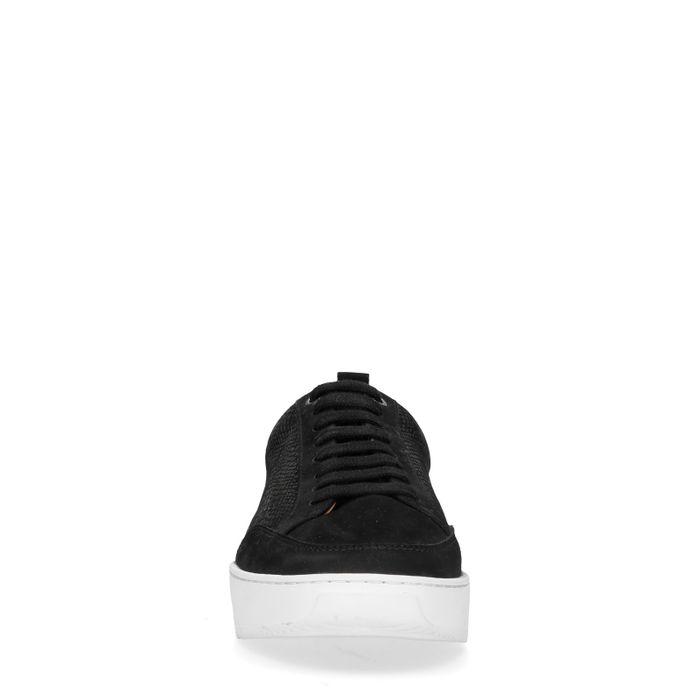 Baskets en daim avec imprimé croco - noir