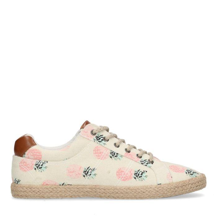 Chaussures textile avec imprimé et semelle en corde - beige