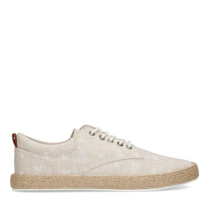 Chaussures à lacets en textile avec palmiers - beige