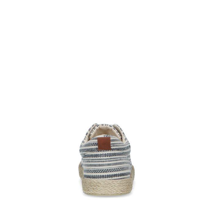 Baskets en textile avec semelle en corde tressée et imprimé - bleu
