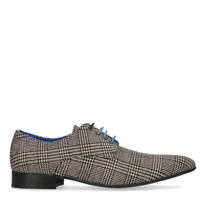 Chaussures à lacets textile avec motif à carreaux - marron