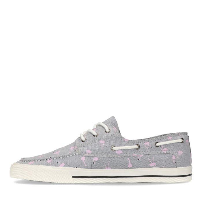Baskets basses en toile avec flamants roses - gris