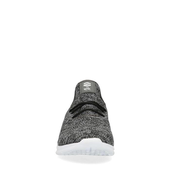 Baskets textile basses matière chinée - noir