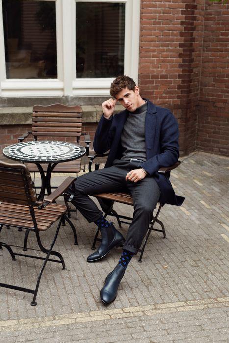 Chelsea boots en cuir verni Sacha x MattGStyle - bleu foncé