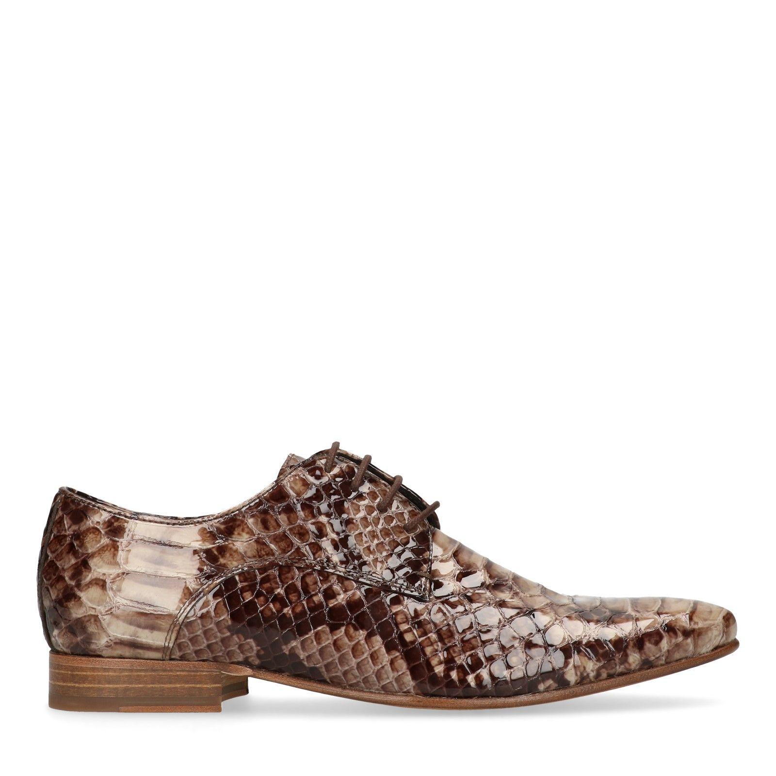Hommes Chaussures serpent verni à lacets cuir marron imprimé BwxwzO0qR