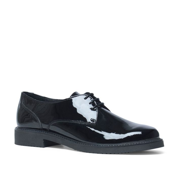 Schwarze Damen-Schnürschuhe aus Lack