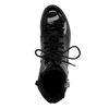 Schwarze Lack-Boots mit Schnalle