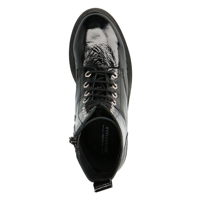 Schwarze Lack-Boots mit Plateausohle