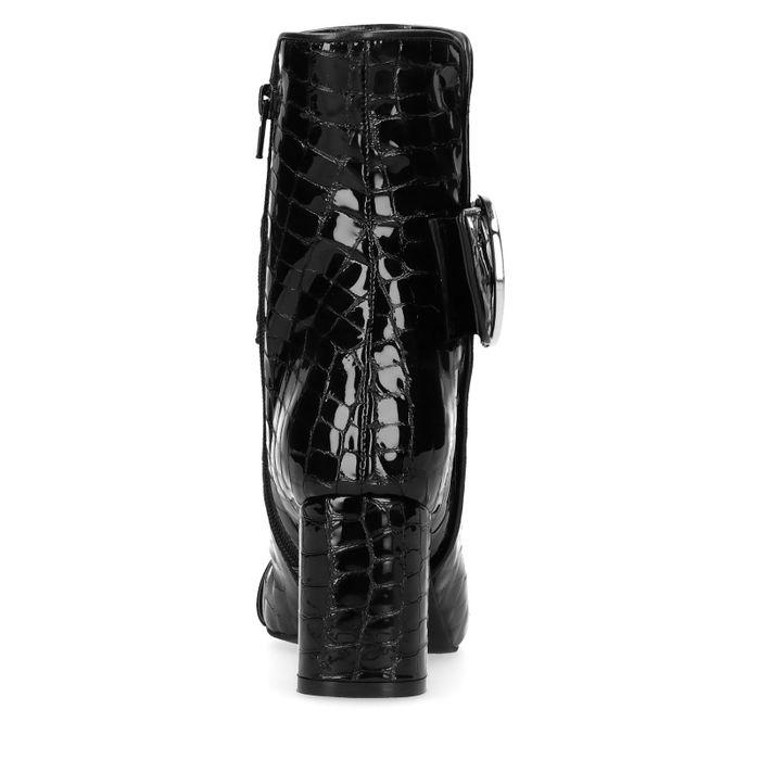 Sacha x Whoisthatblonde Schwarze Absatz-Stiefeletten mit Schlangenmuster
