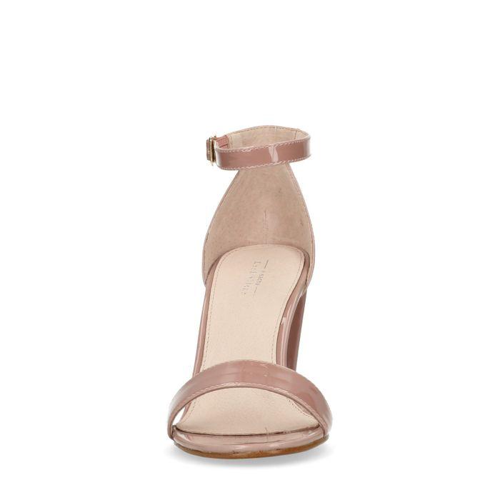 Nudefarbene Lack-Sandaletten