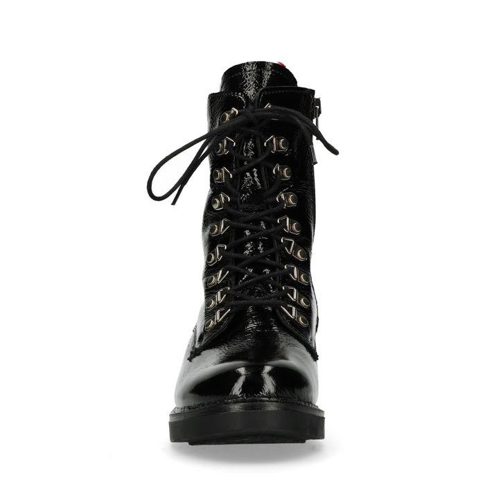 Schwarze Lack-Boots mit Kunstfell