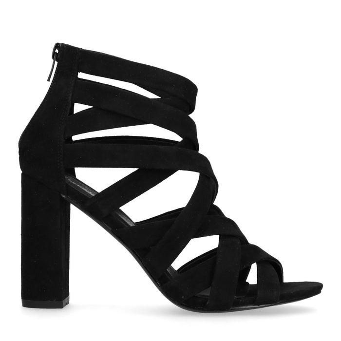 Schwarze Sandaletten mit gekreuzten Riemchen