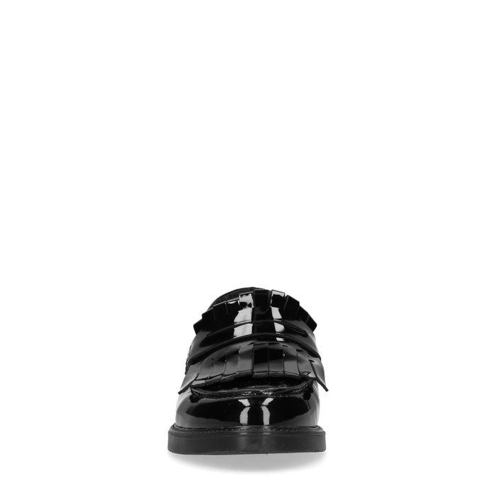 Schwarze Lack-Loafer mit Fransen
