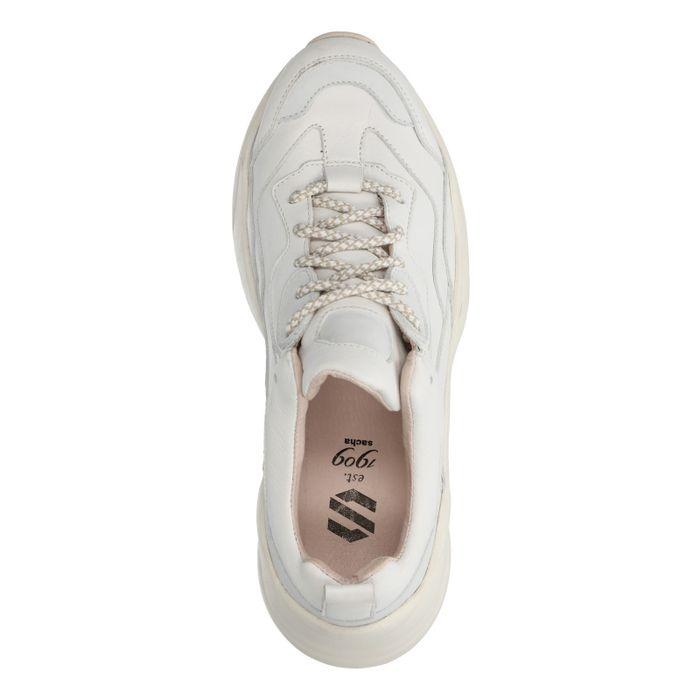 Beigefarbene Dad-Sneaker aus Leder
