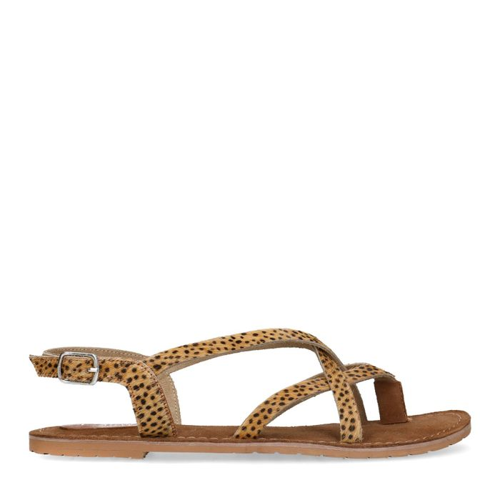 Sandalen mit gekreuzten Riemchen und Gepardenmuster