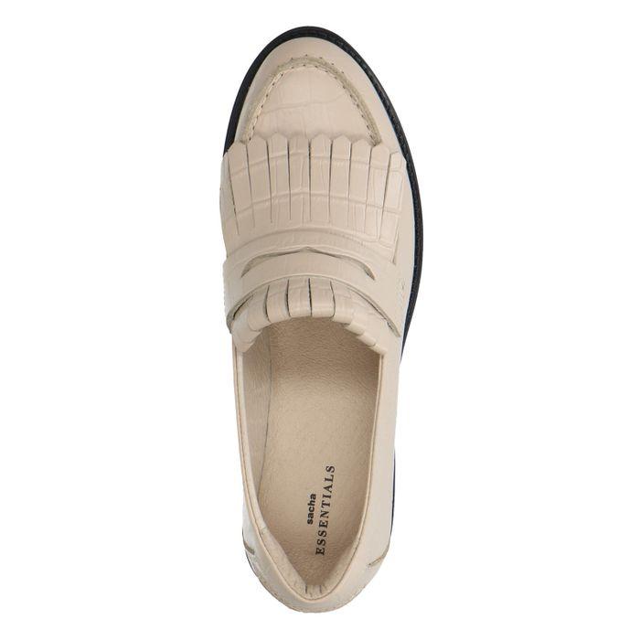 Beigefarbene Kroko-Loafer mit Fransen