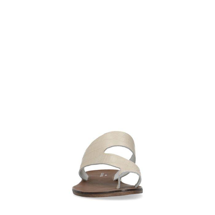 Latte-farbene Sandalen mit Krokomuster