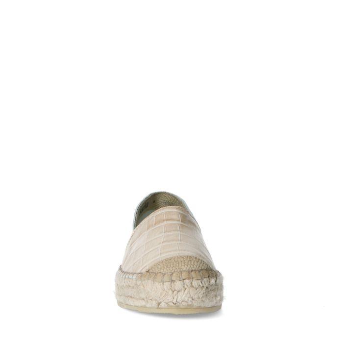 Beigefarbene Leder-Espadrilles mit Krokomuster
