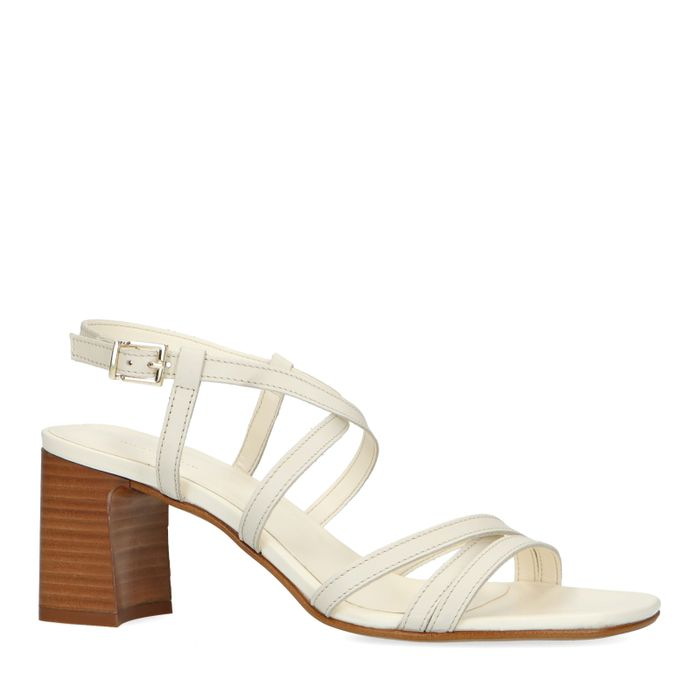 Beigefarbene Leder-Sandaletten