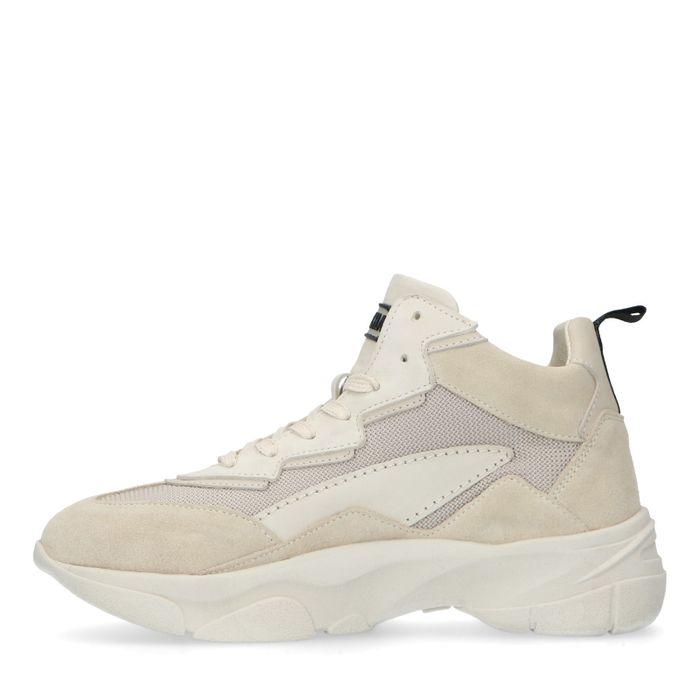 Halbhohe beigefarbene Dad-Sneaker aus Leder