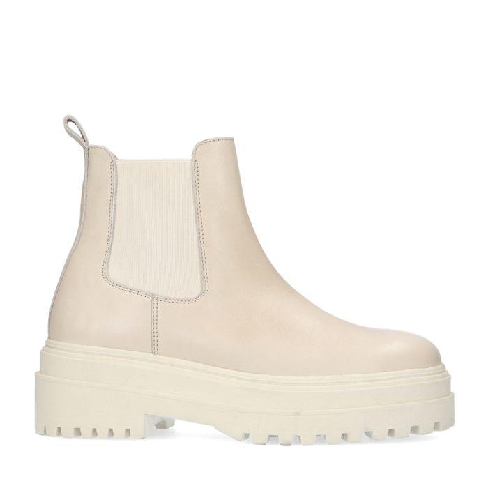 Lattefarbene Chelsea Boots mit chunky Sohle
