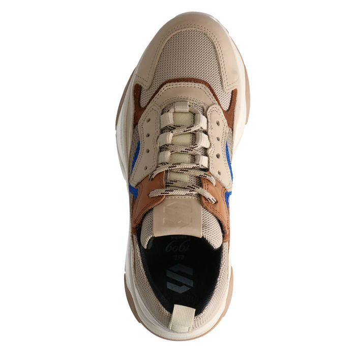 Beigefarbene Dad-Sneaker aus Leder mit Details