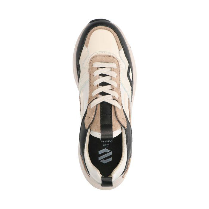 Beigefarbene Sneaker mit schwarzen Details