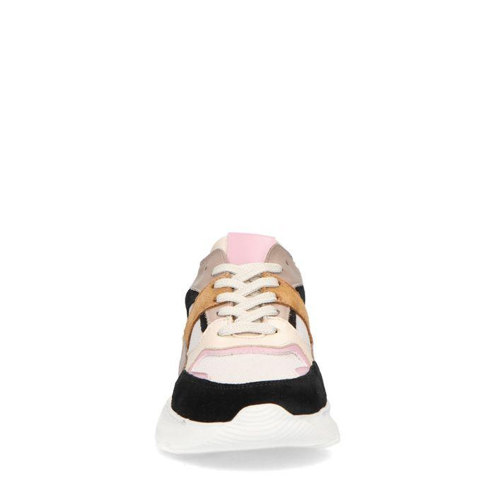 Beigefarbene Sneaker mit farbigen Details