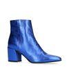 Metallic-blaue Absatz-Stiefeletten