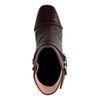 Sacha x Whoisthatblonde Bordeauxfarbene Absatz-Stiefeletten mit Schlangenmuster