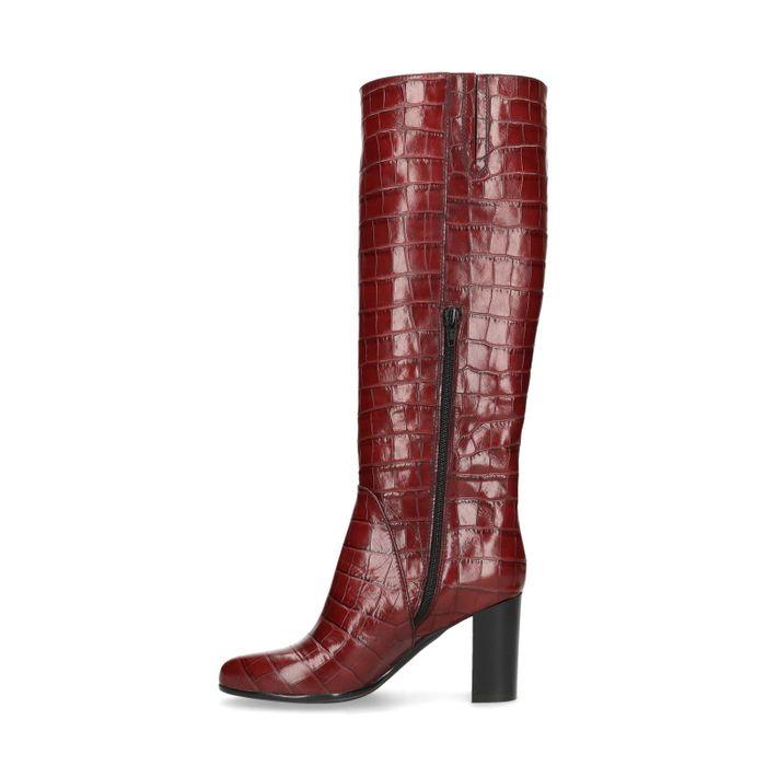 Bordeauxrote Stiefel mit Absatz