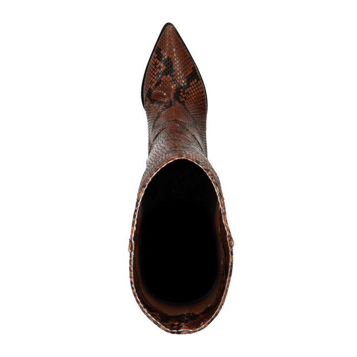 Hohe braune Stiefel mit Schlangenmuster