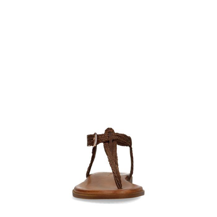 Braune Sandalen mit geflochtenem Riemchen