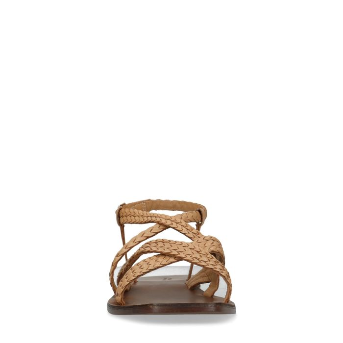 Kamelbraune Sandalen mit geflochtenen Riemchen
