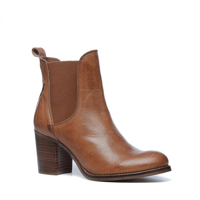 Chelsea Boots mit Blockabsatz - cognac