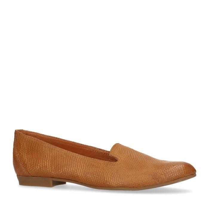 Cognacfarbene Loafer mit Schlangenmuster